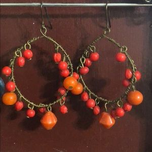 Jewelry - ✨ FREE W BUNDLE Handmade orange beaded earring
